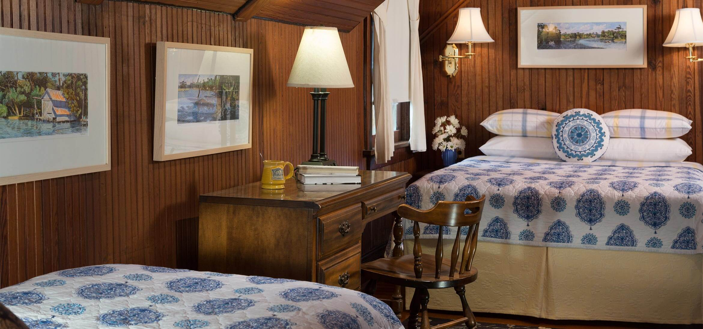 Cowen Room bed and desk at our Magnolia Springs B&B
