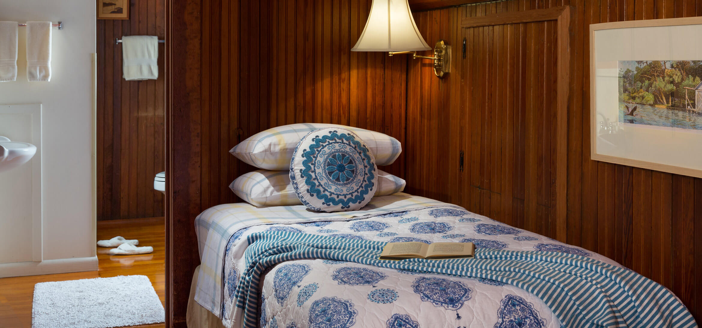 Cowen Room bed at our Fairhope, AL bed and breakfast