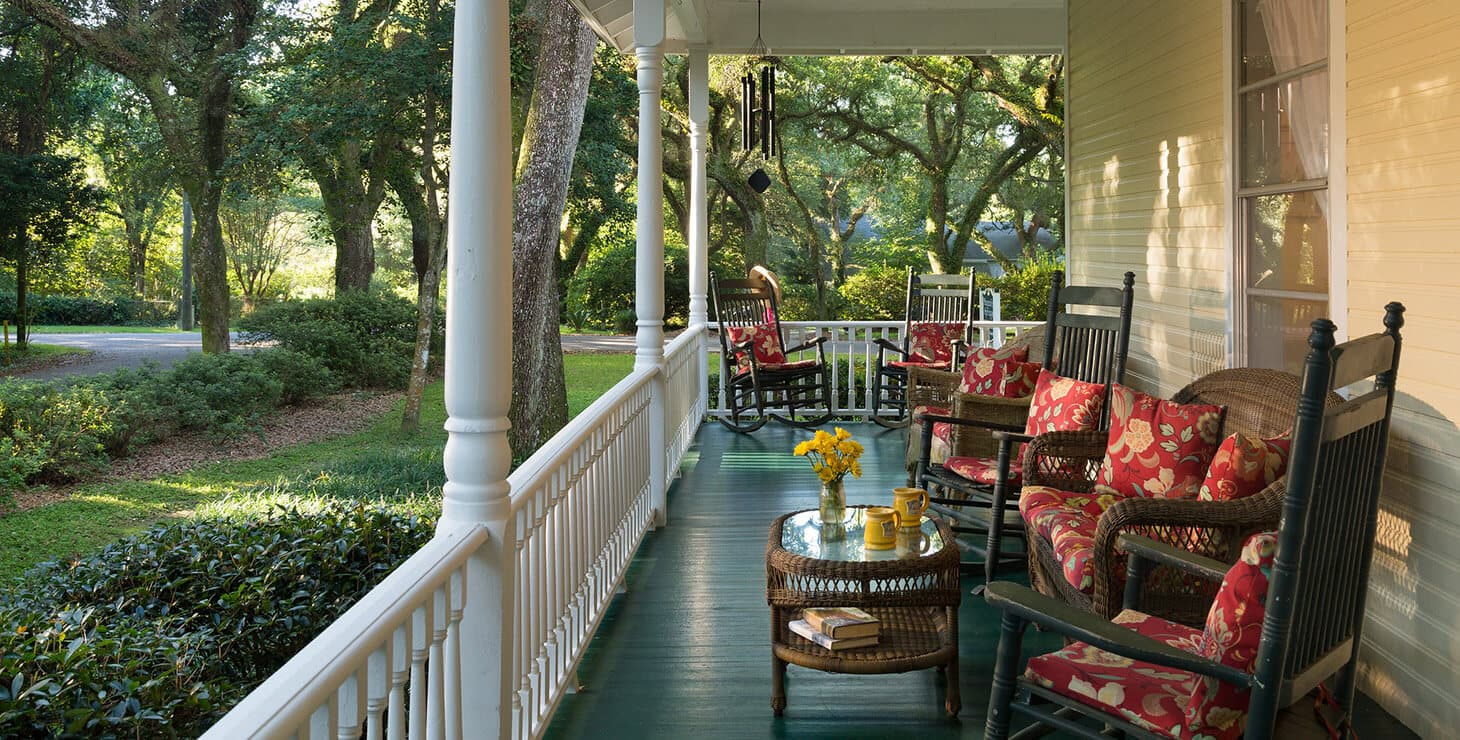 Front porch seating area at our Romantic Alabama Bed and Breakfast