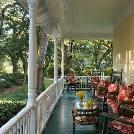 Porch with chairs at our romantic Alabama bed and breakfast