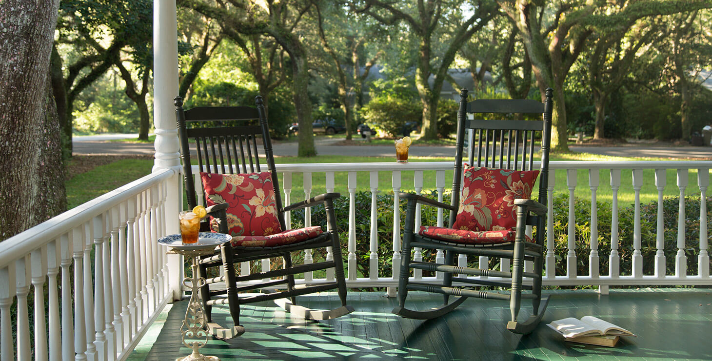 Rocking chairs on the porch of our bed and breakfast near Gulf Shores, AL