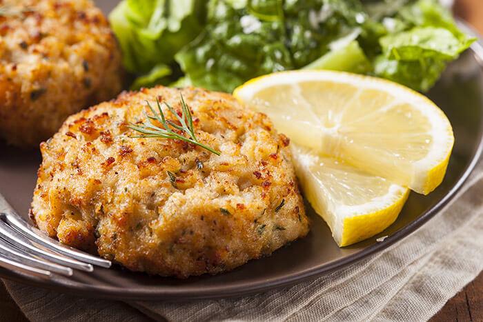 Crabcake with lemon at a restaurant in Fairhope, AL