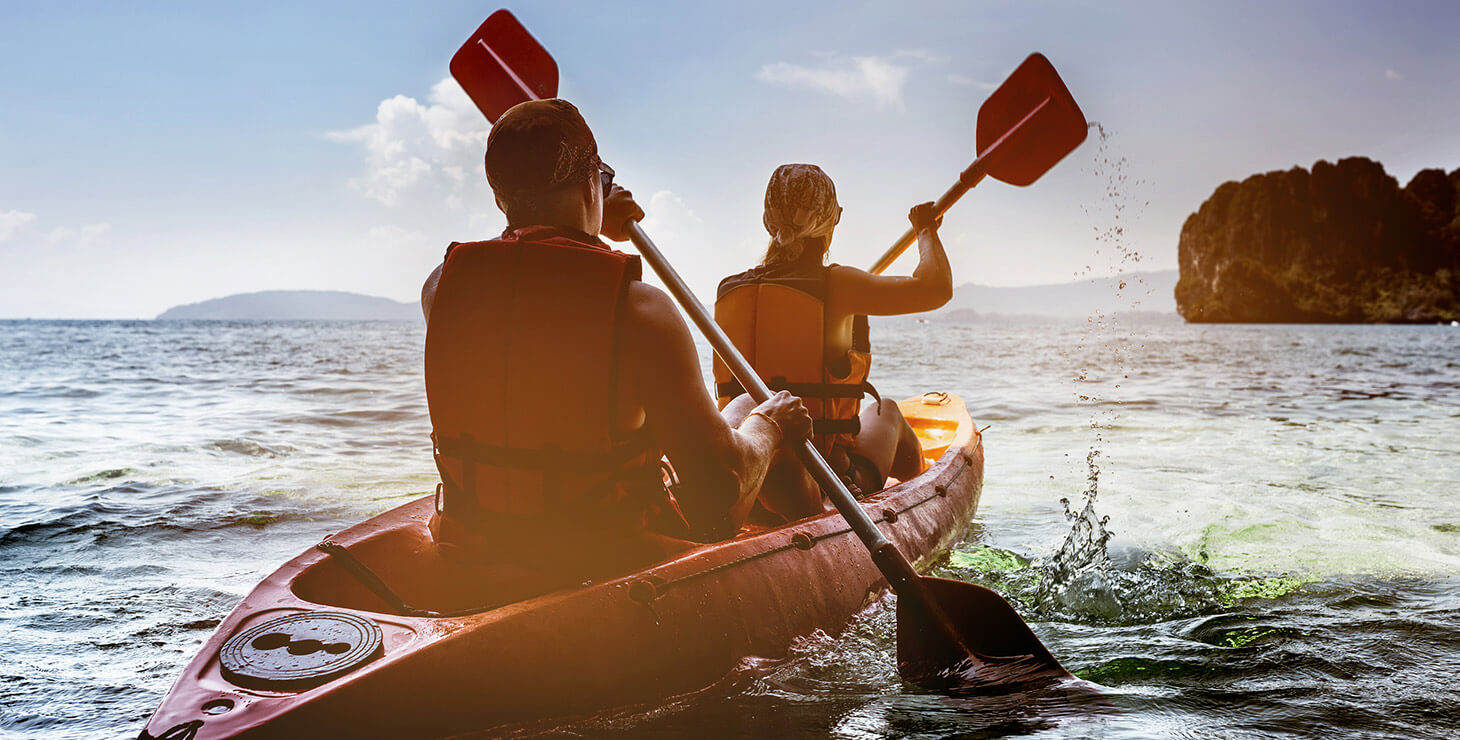 Couple in an ocean kayak
