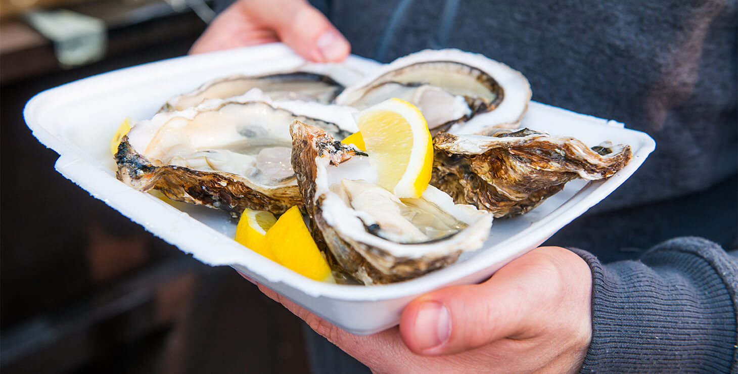 Plate of oysters with a lemon