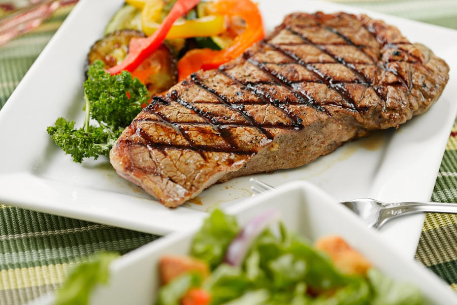 gourmet steak dish with veggies