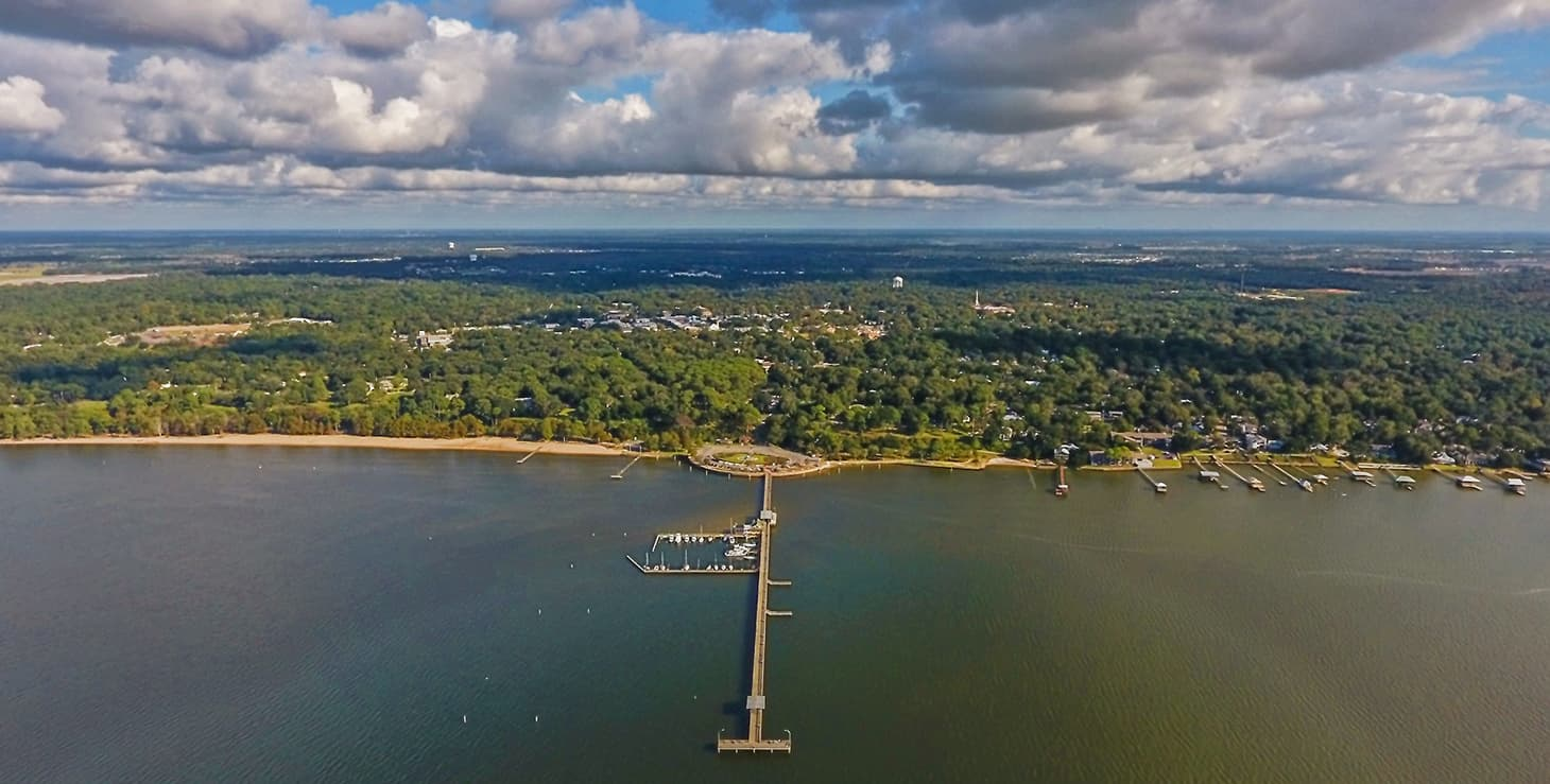 Aerial view of Fairhope, Alabama