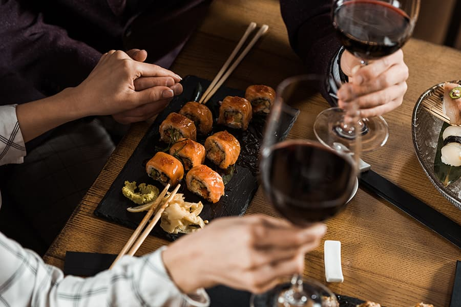 Sushi and wine is served in a local Fairhope restaurant