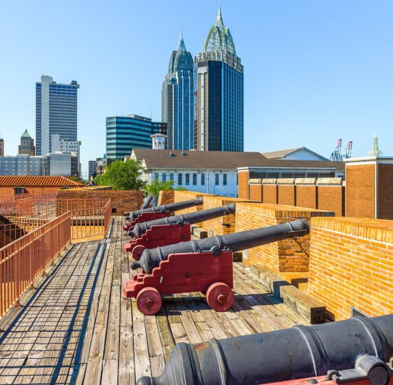 Cannons on the wall at Fort Conde in Mobile, AL