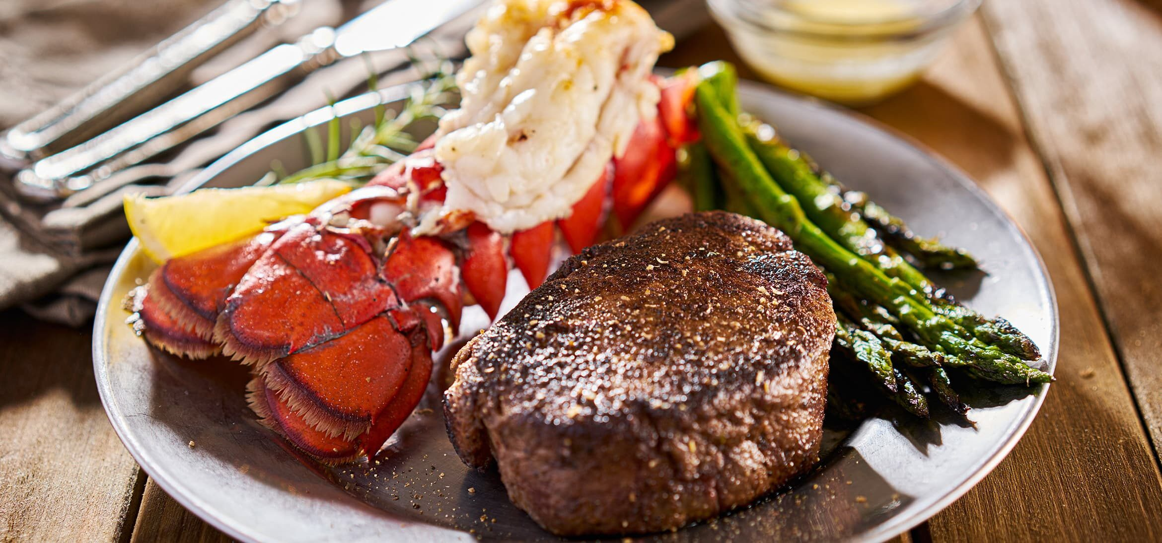 lobster tail and steak dinner