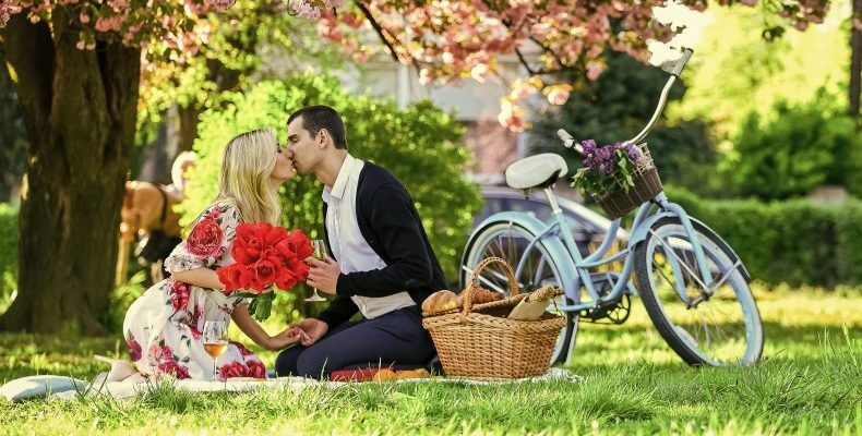 couple by a bike enjoying a picnic on the grass